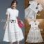 ชุดเดรสเกาหลีพร้อมส่ง เดรสผ้าลูกไม้สีขาวตัดต่อเลเยอร์ลายทาง thumbnail 9