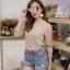 เสื้อผ้าเกาหลีพร้อมส่ง เสื้อแขนเว้าต่อซีทรู เนื้อผ้าวิ้ง thumbnail 10
