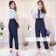 เสื้อผ้าเกาหลีพร้อมส่ง งานจั้มขายาวแขนสั้น แต่งผ้าลูกไม้ช่วงบนตัวเสื้อ thumbnail 9