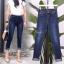 เสื้อผ้าแฟชั่นเกาหลีพร้อมส่ง กางเกงยีนส์เรียบ ทรงขาพับ thumbnail 4
