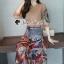 เสื้อผ้าแฟชั่นเกาหลีพร้อม่ส่ง Fashionally Denim-Chiffon Printed Skirt Set thumbnail 1