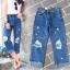 เสื้อผ้าแฟชั่นเกาหลีพร้อมส่ง กางเกงยีนส์ทรงบอยขา 8 ส่วน thumbnail 2