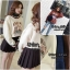 เสื้อผ้าเกาหลีพร้อมส่ง เสื้อกันหนาว แต่งระบายคอและปลายแขนแน่นๆ thumbnail 9