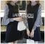 ชุดเดรสเกาหลีพร้อมส่ง เดรสสีดำตกแต่งแขนเสื้อลายทาง thumbnail 4