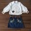 เสื้อผ้าเกาหลีพร้อมส่ง Chic Sticky Blue Flora Set thumbnail 5