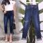 เสื้อผ้าแฟชั่นเกาหลีพร้อมส่ง กางเกงยีนส์เรียบ ทรงขาพับ thumbnail 2