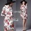 ชุดเดรสเกาหลี พร้อมส่งเดรสผ้าชีฟองพิมพ์ลายดอกกุหลาบสีแดงเนื้อผ้ายับอัดพีท thumbnail 7
