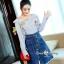 เสื้อผ้าเกาหลีพร้อมส่ง Zara Stripe Shirt With Denim Skirt Set thumbnail 5