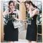 ชุดเดรสเกาหลีพร้อมส่ง เดรสผ้าเครปสีดำปักลายดอกกุหลาบ thumbnail 12