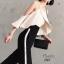 เสื้อผ้าเกาหลีพร้อมส่ง กางเกงเอวสูง แต่งแถบขาวด้านข้าง thumbnail 4