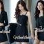 เสื้อผ้าเกาหลีพร้อมส่ง Chic Coral Pink&Black Cami Suite Set thumbnail 5