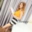 เสื้อผ้าแฟชั่นเกาหลีพร้อมส่ง เสื้อสายเดี่ยวสีเหลืองมาพร้อมกางเกงลายทางขาว-ดำ thumbnail 1