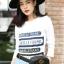 เสื้อผ้าเกาหลีพร้อมส่ง เสื้อแขนยาวสกรีนลายอักษรผ้านิ่มเนื้อดี thumbnail 2