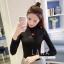 เสื้อผ้าเกาหลีพร้อมส่ง เสื้อไหมพรมคอเต่าแขนยาว thumbnail 4
