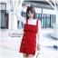 ชุดเดรสเกาหลีพร้อมส่ง Dress สีแดง ไหมพรมผ้าหนา thumbnail 1