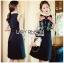 ชุดเดรสเกาหลีพร้อมส่ง เดรสผ้าเครปสีดำปักลายดอกกุหลาบ thumbnail 7