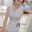 ( พร้อมส่งเสื้อผ้าเกาหลี) เดรสแขนกุดสีขาวตัดแต่งดอกไม้ช่วงอก ใครมองหาชุดปงานแต่งงานหรืองานหรู ขอแนะนำตัวนี้เลยค่ะ งานคัตติ้งดีมาก แพทเทิร์นสวยเป๊ะ ช่วงคอเป็นแบบคอสูง ด้านหน้าเป็นผ้าออร์แกนซ่าประดับดอกไม้เป็นคอวี ตัดต่อช่วงกระโปรงสีขาวเข้ารูป กระโปรงสั้น thumbnail 1