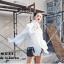 เสื้อผ้าเกาหลีพร้อมส่ง เสื้อแขนยาวสีขาว ช่วงอกเย็บแต่งระบายพร้อมพิมพ์ลายมวยไทย thumbnail 1