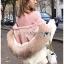 Emma Winter Big Fur-Hood White Denim Jacket thumbnail 4