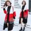 เสื้อผ้าเกาหลีพร้อมส่ง เสื้อคลุมตัวยาวงานไหมพรม cardigan ทอไล่สีขาว แดง ดำ thumbnail 6