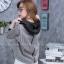 เสื้อผ้าเกาหลีพร้อมส่ง เสื้อคลุมแขนยาวลายทางมาพร้อมฮูด thumbnail 4