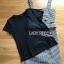 เสื้อผ้าเกาหลีพร้อมส่ง เซ็ตเสื้อยืดสีดำทับด้วยเดรสลายตาราง thumbnail 9
