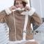 เสื้อผ้าเกาหลีพร้อมส่ง โค้ตหนังกลับบุหนังแกะสำหรับหน้าหนาว thumbnail 3