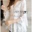 เสื้อผ้าเกาหลีพร้อมส่ง เสื้อยาวผ้าคอตตอนสีขาวตกแต่งลูกไม้สไตล์วินเทจ thumbnail 5