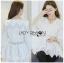 เสื้อผ้าเกาหลีพร้อมส่ง เสื้อยาวผ้าคอตตอนสีขาวตกแต่งลูกไม้สไตล์วินเทจ thumbnail 9