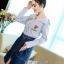 เสื้อผ้าเกาหลีพร้อมส่ง Zara Stripe Shirt With Denim Skirt Set thumbnail 6