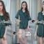 เสื้อผ้าเกาหลีพร้อมส่ง Whiffle Rim Lace Murky Color Playsuit thumbnail 8