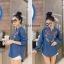 เสื้อผ้าเกาหลีพร้อมส่ง เสื้อยีนส์ปัก ผ้ายีนส์นิ่ม ปักลายแน่นๆทั้งด้านหน้าด้านหลัง thumbnail 5