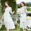 ชุดเดรสเกาหลีพร้อมส่ง เดรสผ้าลูกไม้สีขาวสไตล์เจ้าหญิงสุดหวาน thumbnail 3