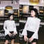 เสื้อผ้าเกาหลีพร้อมส่ง เสื้อลูกไม้ถักแขนชีฟองยาวผ้าลูกไม้ซีทรูทอลายตารางเพชร thumbnail 2