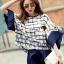 เสื้อผ้าเกาหลี พร้อมส่งFunnel Sleeve Chic Checked Set thumbnail 1