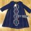 ชุดเดรสเกาหลี พร้อมส่งมินิเดรสผ้าคอตตอนสีน้ำเงินปักลายสไตล์ชนเผ่า thumbnail 12