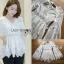 เสื้อผ้าเกาหลีพร้อมส่ง เสื้อยาวผ้าคอตตอนสีขาวตกแต่งลูกไม้สไตล์วินเทจ thumbnail 10