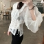 เสื้อผ้าเกาหลีพร้อมส่ง เสื้อลูกไม้ถักแขนชีฟองยาวผ้าลูกไม้ซีทรูทอลายตารางเพชร thumbnail 3