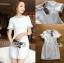 เสื้อผ้าเกาหลีพร้อมส่ง ค็อกเทลเดรสผ้าคอตตอนทวีตสีขาวตกแต่งมุก thumbnail 11
