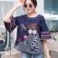 เสื้อผ้าเกาหลีพร้อมส่ง เสื้อคอกลม แขนกระดิ่ง เนื้อผ้า cotton 100% thumbnail 1