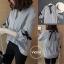 เสื้อผ้าเกาหลีพร้อมส่ง เสื้อผ้าโพลีลายริ้วตรง thumbnail 4
