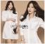 เสื้อผ้าเกาหลีพร้อมส่ง เชิ้ตเดรสผ้าคอตตอนสีขาวตกแต่งเชือกผูกด้านข้าง thumbnail 9