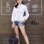 เสื้อผ้าเกาหลีพร้อมส่ง เสื้อเชิ้ตคอจีนแขนยาวทรงสวย thumbnail 3