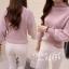 เสื้อผ้าเกาหลีพร้อมส่ง เสื้อไหมพรมคอตั้งแขนพองจั้มปลายแขน thumbnail 5