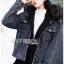 Karina Denim Jacket Shearling Hood Coat Set thumbnail 5