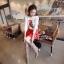 เสื้อผ้าเกาหลี พร้อมส่ง เสื้อไหมพรม ทอลายนกแก้วสีแดง ตรงช่วงอก สีสันเด่นชัด ตัวเสื้อเป็นสีขาวสวยงาม thumbnail 2