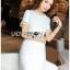 เสื้อผ้าเกาหลีพร้อมส่ง ค็อกเทลเดรสผ้าคอตตอนทวีตสีขาวตกแต่งมุก thumbnail 9