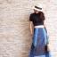 เสื้อผ้าเกาหลีพร้อมส่งกระโปรงผ้ายีนส์ งานตัดเย็บสลับสี thumbnail 3