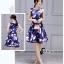 ชุดเดรสเกาหลี พร้อมส่งMini Dress ผ้าซาตินสีน้ำเงินเข้มปริ้นลายดอกไม้สีชมพู thumbnail 5