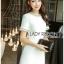 เสื้อผ้าเกาหลีพร้อมส่ง ค็อกเทลเดรสผ้าคอตตอนทวีตสีขาวตกแต่งมุก thumbnail 3
